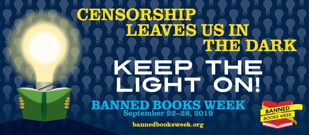 Banned Books Week 2019, Banner, Keep the Light On